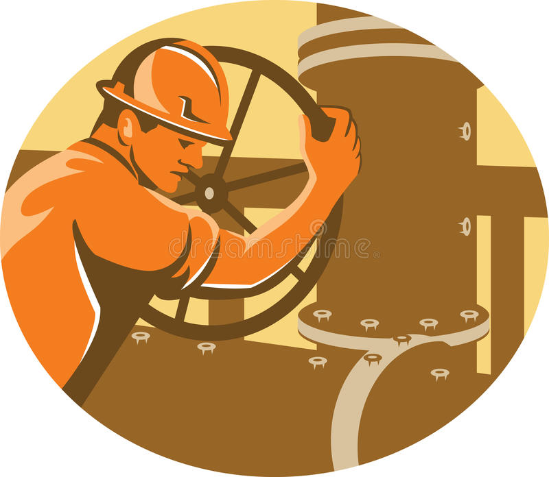 Gas and Oil Worker Closing Pipeline Pipe Valve royalty free illustration