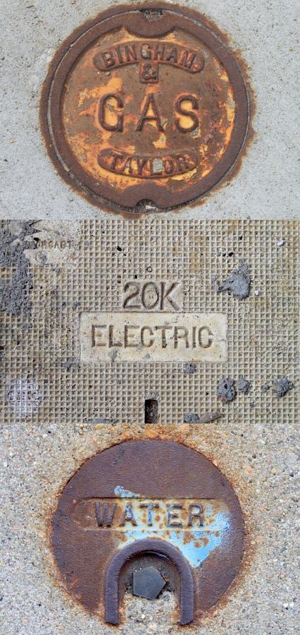 Gas público, eléctrico, ejemplo de las utilidades del agua ilustración del vector