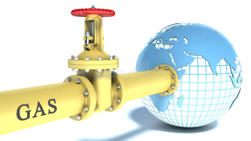 Gas pipe attached to the planet earth stock illustration