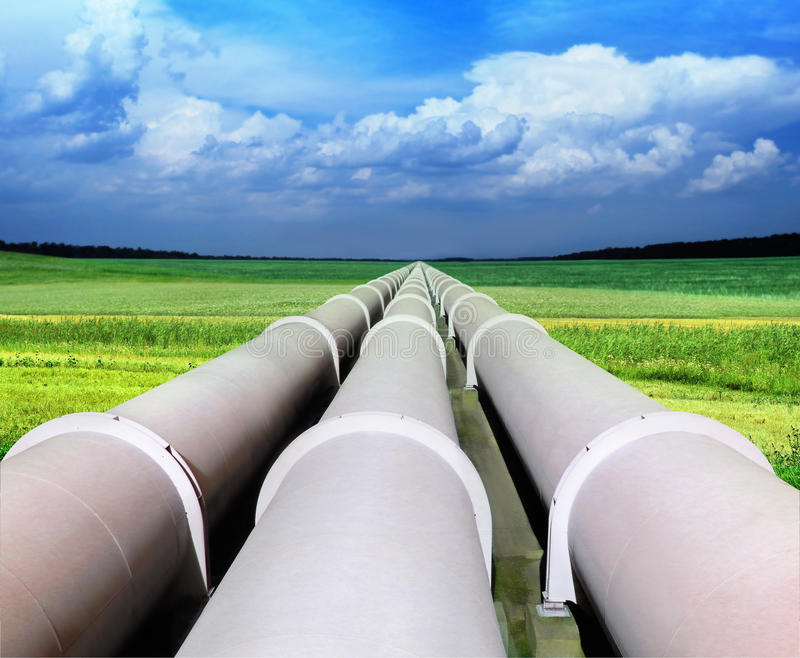 Gas pipe line. That laid through green field stock photos