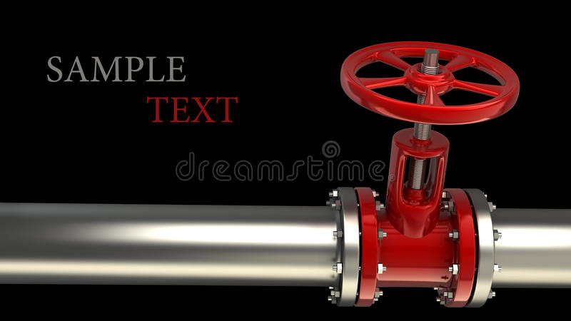 Gas pipe with a red valve vector illustration