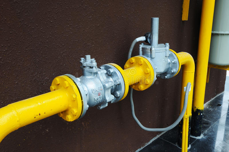 Gas pipe and valve royalty free stock image