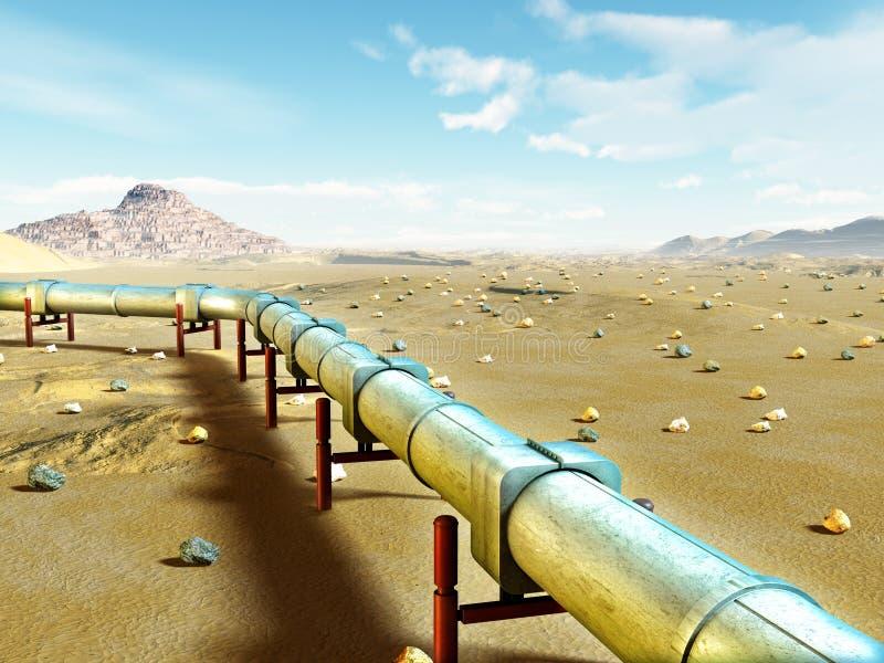 Gas pipeline. Modern gas pipeline running through a desert landscape. Digital illustration royalty free illustration