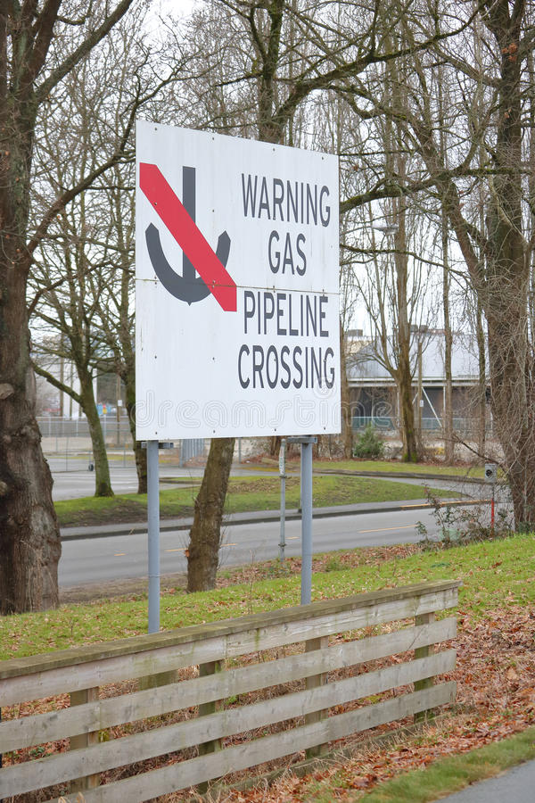 Gas Pipeline Crossing Sign royalty free stock images