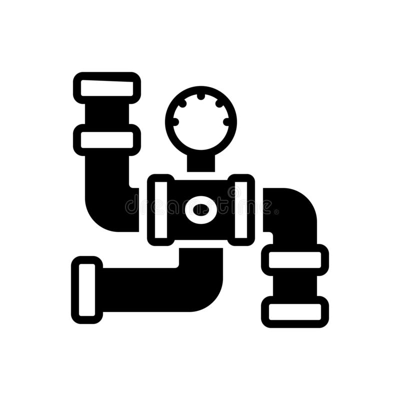 Black solid icon for Gas Pipeline, connector and piping. Black solid icon for Gas Pipeline, plumber, pressure, sanitary,  connector and piping royalty free illustration