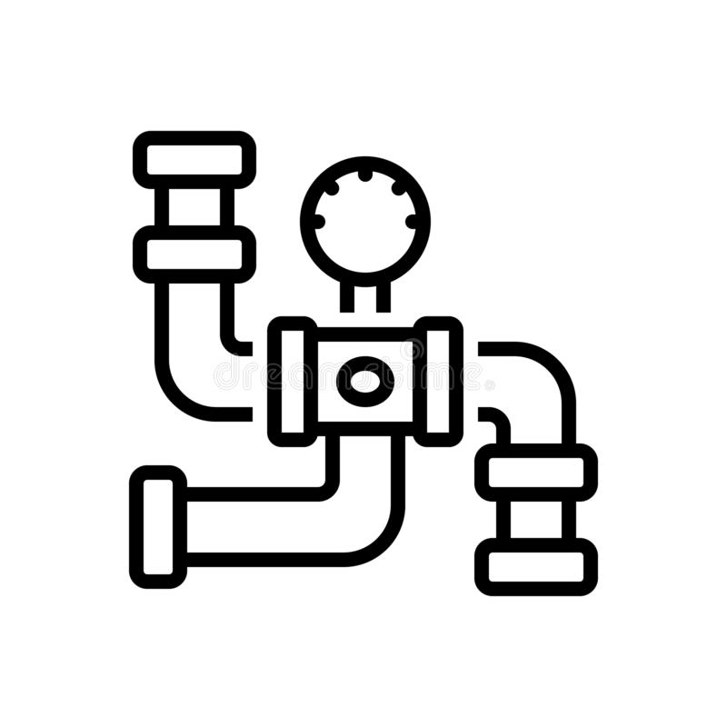 Black line icon for Gas Pipeline, connector and piping. Black line icon for Gas Pipeline, plumber, pressure, sanitary,  connector and piping stock illustration