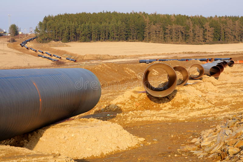 Gas pipeline under construction. Construction of an international gas pipeline Gazela going from Russia to Germany, supplying Germany by natural gas royalty free stock images