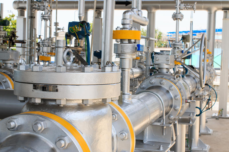 Gas pipeline and valve royalty free stock image