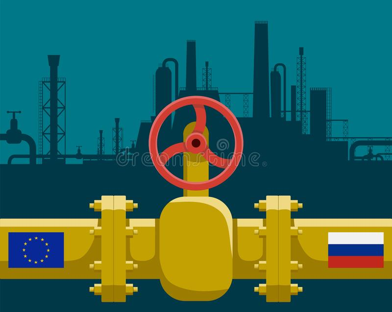 Gas pipeline with valve. Industrial business between Russia and European Union. Stock vector illustration royalty free illustration