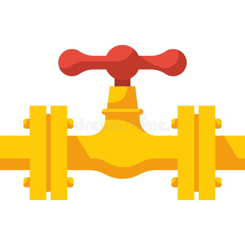 Gas pipeline with valve. Vector illustration flat design. Industry system isolated on white background. Wheel to open closing flow. Yellow pipe, cartoon style vector illustration