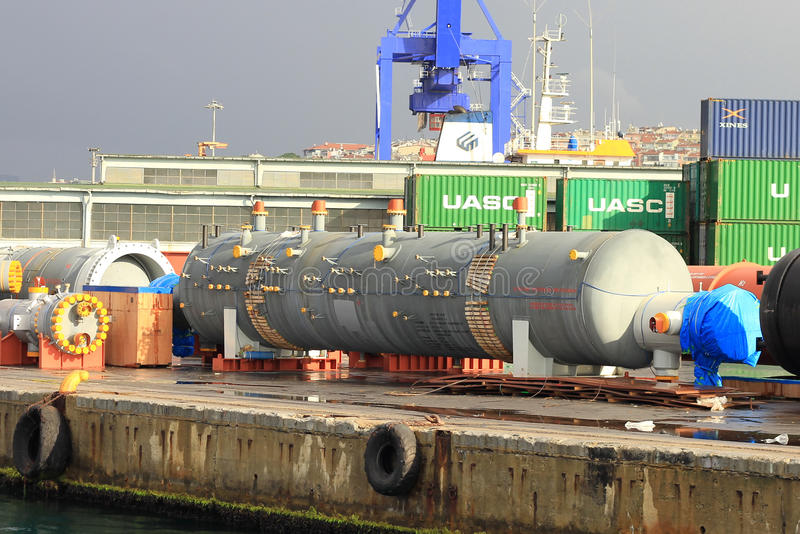 Gas pipes in quayside