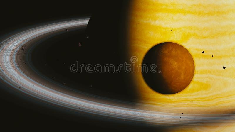 Gas planet and moon, 3d render. Gas giant planet and moon, 3d render stock illustration