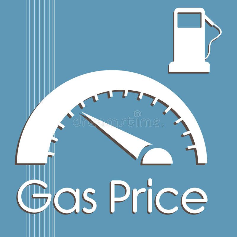 Gas price. Abstract colorful background with gas pump and gas price counter stock illustration