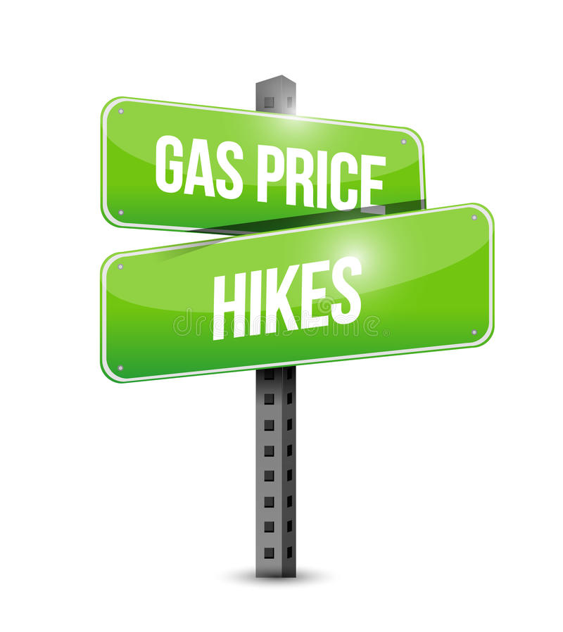 Gas price hikes street sign illustration design. Over a white background royalty free illustration