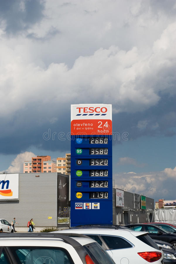 Gas price list. Gas station price list at Tesco, Ostrava - Futurum shopping center royalty free stock photography