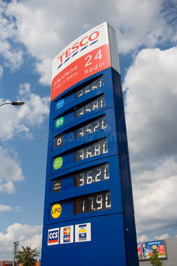 Gas price list. Gas station price list at Tesco, Ostrava - Futurum shopping center stock photos