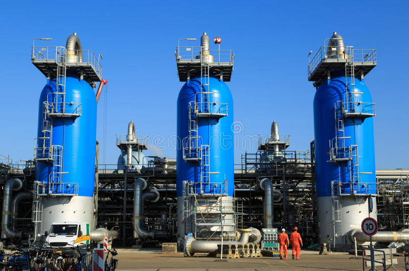 Gas processing plant stock image