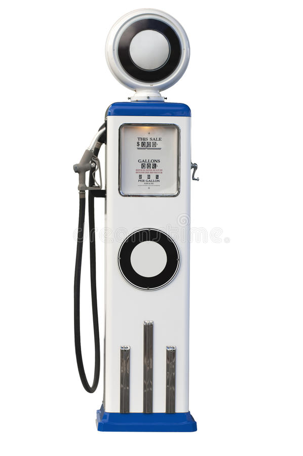 Gas pump. Old fashioned gas station pump isolated on white background royalty free stock images