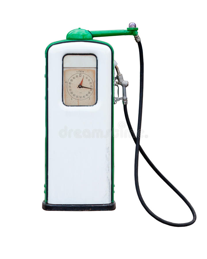 Gas pump. Old retro gas pump isolated on white background stock photography