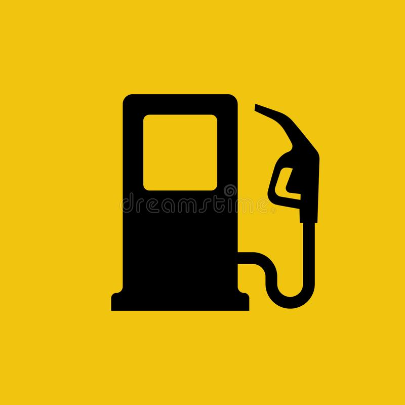 Gas pump icon. Fuel pump. Petrol station sign. Gasoline nozzle. Fuel background. Vector illustration flat design. Isolated black symbol on a yellow background vector illustration