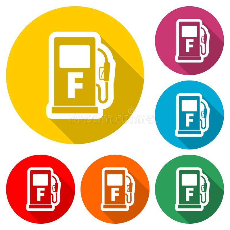 Gas pump icon, Gasoline and diesel fuel symbol, color icon with long shadow. Simple vector icons set royalty free illustration