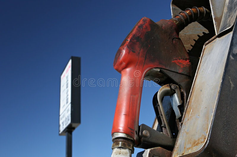 Gas pump with sign royalty free stock photo