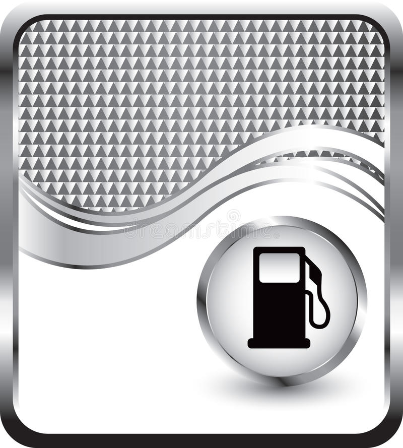 Gas pump on silver checkered wave background