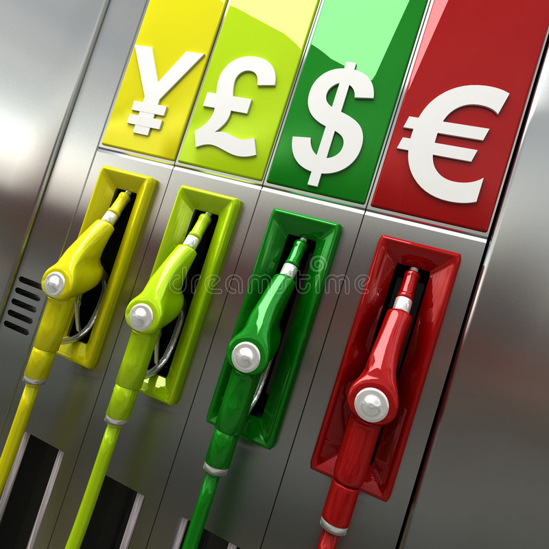 Gas pumps with currency symbols royalty free illustration
