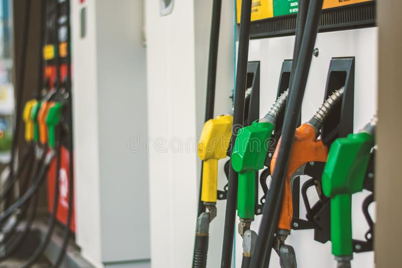 Gas pumps stock image