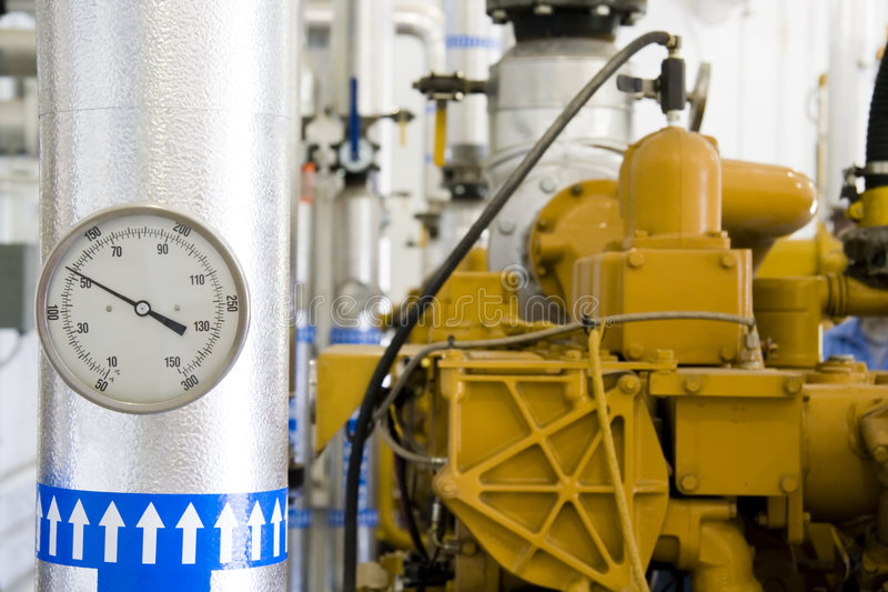 Gas recovery plant. Inside landfill gas recovery plant in Indiana stock photos