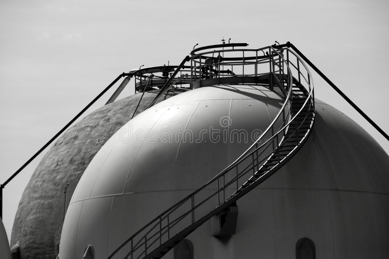 Gas Refinery, storage cistern outdoor stock photo