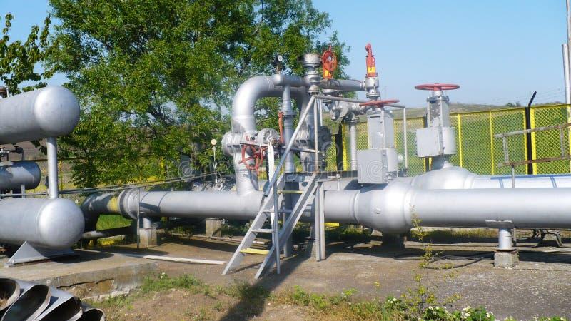Gas regulating station valves for gas shutoff kranive, pipelines. High overwhelmed, gauges pressure monitoring system, concept gas distribution stock images