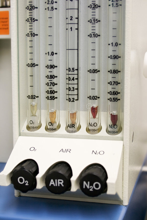 Gas rotameter of narcosis device royalty free stock photos
