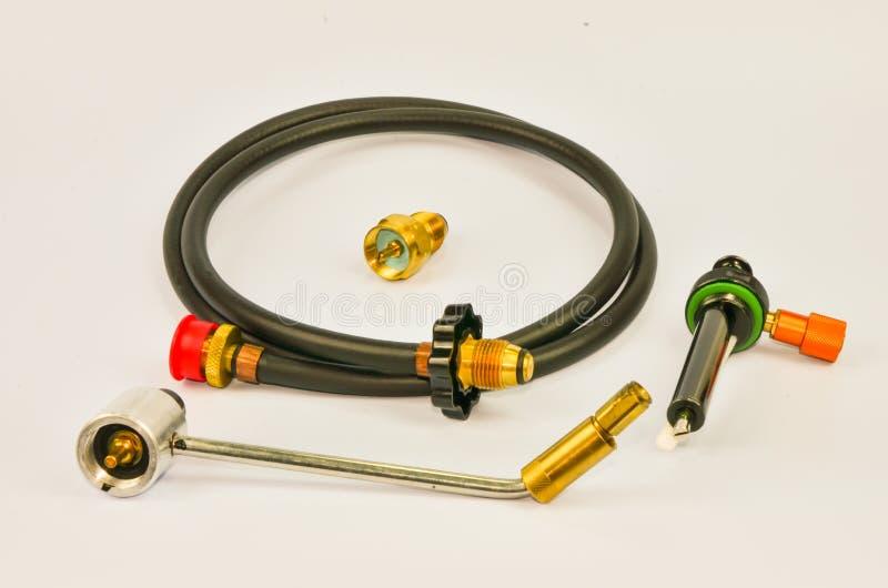 Gas-Schlauch und Adapter stockfotos