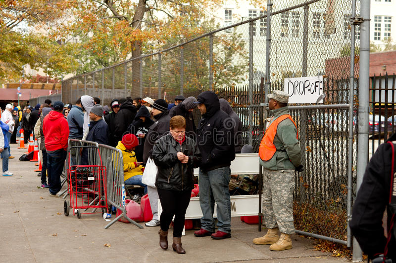 Gas Shortage After Hurricane Sandy. Bronx, NY - November 3: Hurricane Sandy causes gas shortage in Bronx free gas relief program at Armory that never arrived stock photography