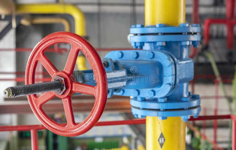 Gas shut-off valve at gas processing station royalty free stock photography
