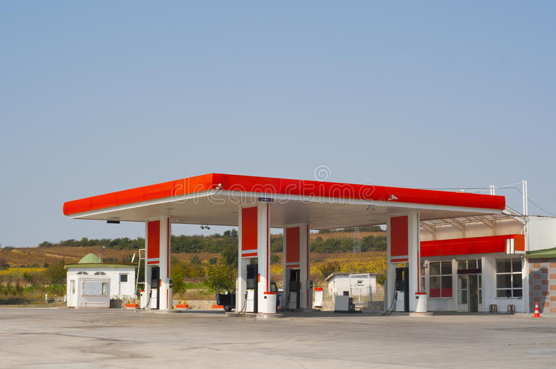 Gas Station. Photo of a gas station. The sign boards are colored in red royalty free stock photography