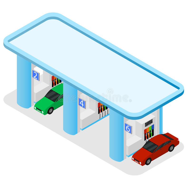 Gas Station Building and Cars Isometric View. Vector vector illustration