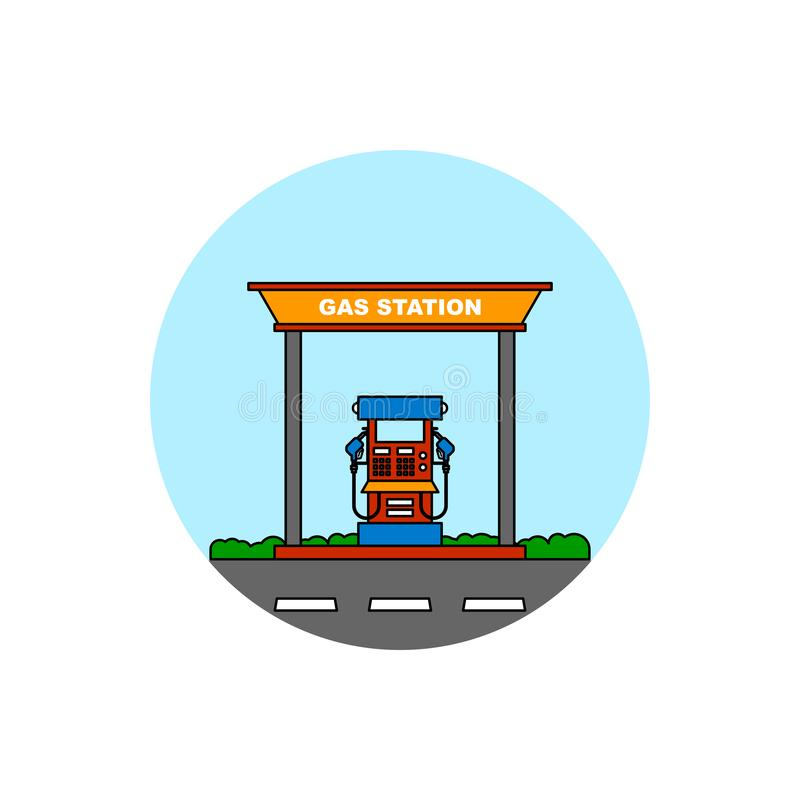 Gas station building cityscape icon. stock illustration