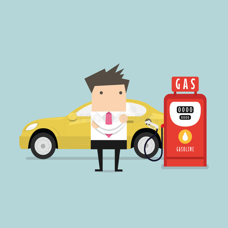 Gas station and businessman. Vector stock illustration