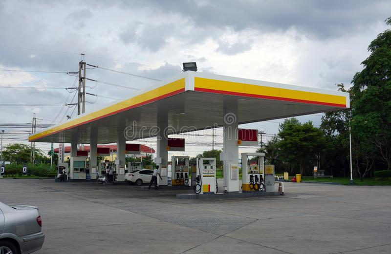 Gas station with cars being refilled royalty free stock images