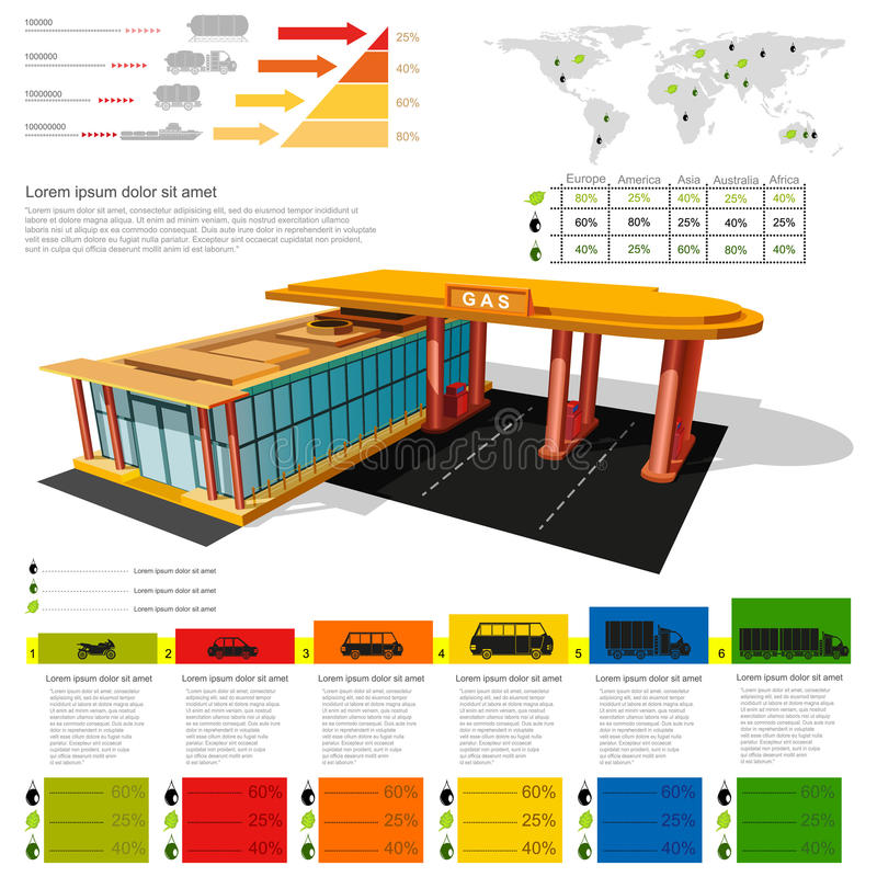 Gas station infographic realistic gas station with abstract diagrams and transport. S stock illustration