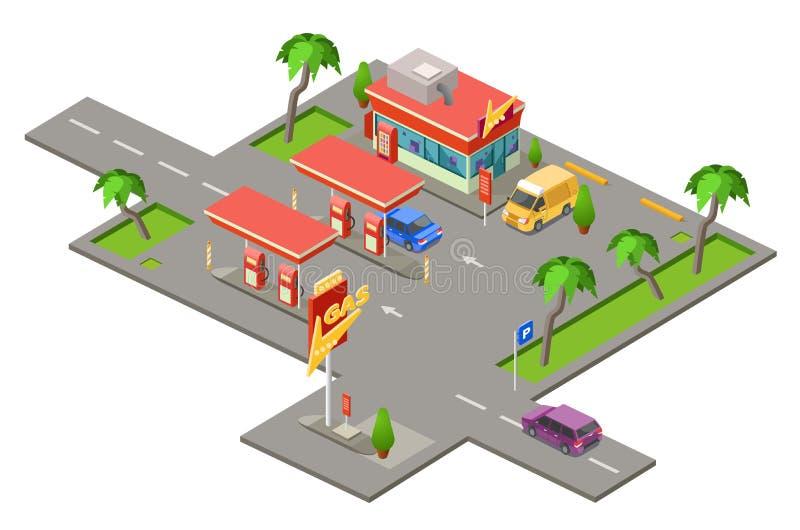 Gas station isometric 3D vector illustration of cars petrol fuel filling station vector illustration