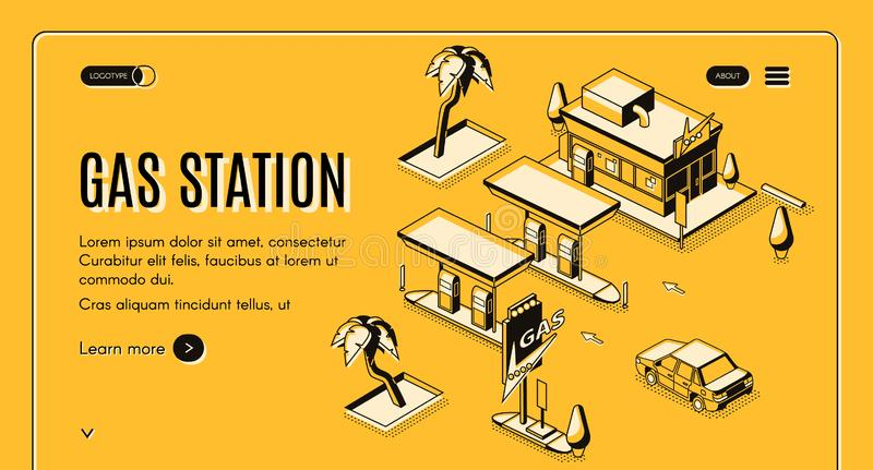 Gas station web page isometric vector template stock illustration
