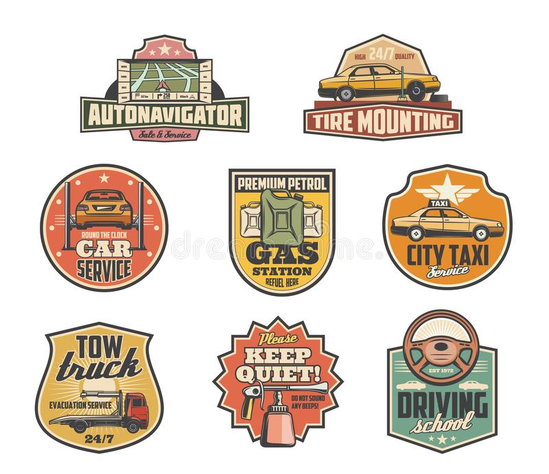 Gas station, mechanic garage and car service icons stock illustration