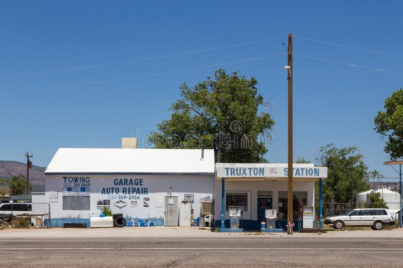 Gas station on National Trails Highway, Route 66 stock image