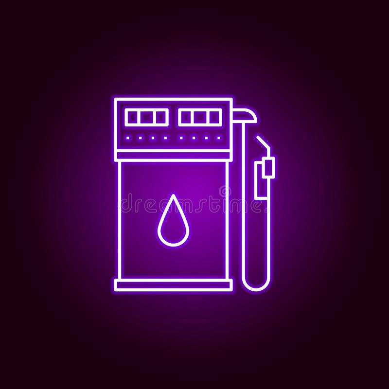 gas station outline icon in neon style. Elements of car repair illustration in neon style icon. Signs and symbols can be used for royalty free illustration