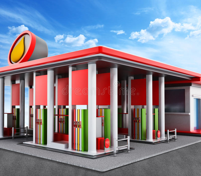 Gas station painted with red and white colors. Generic gas station painted with red and white colors royalty free illustration