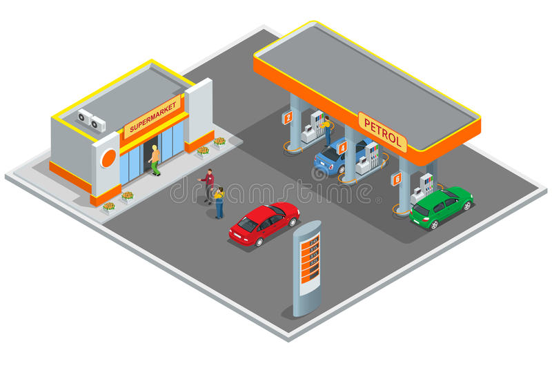 Gas station, petrol station. Refilling, shopping service. Refill station cars and customers. Business icon, Infographics royalty free illustration