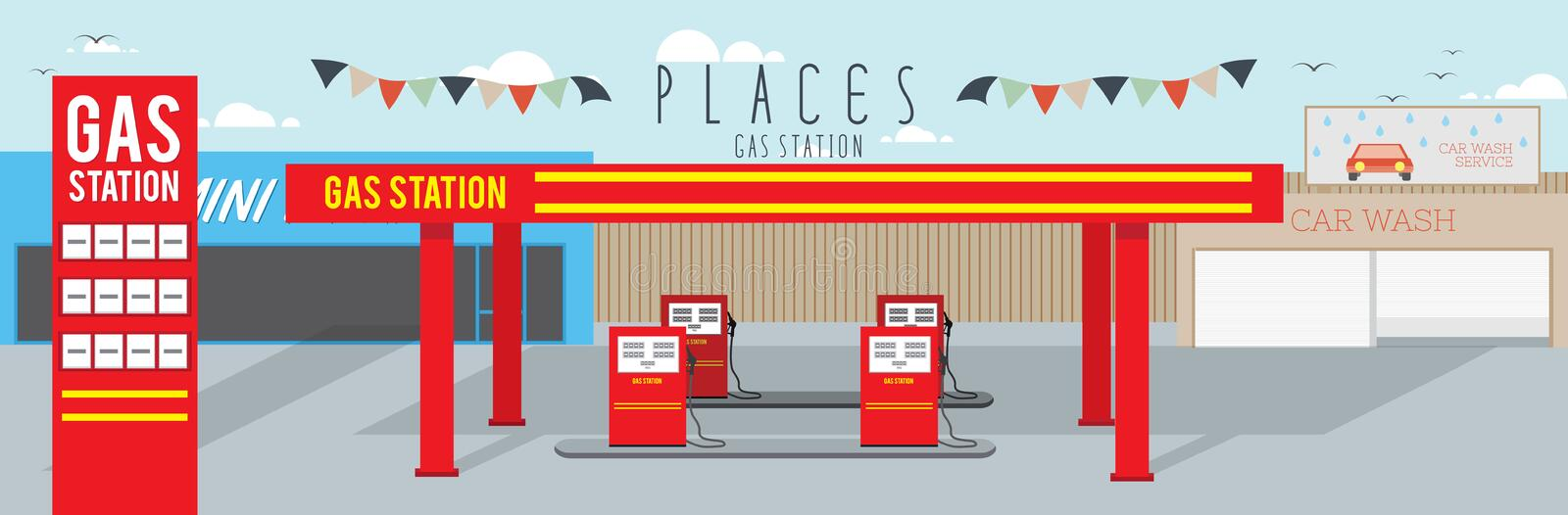 Gas Station (Places) vector illustration